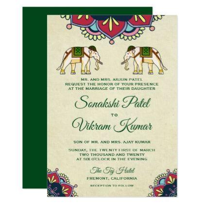 Traditional Elephants Indian Wedding Invitation Zazzle Com With