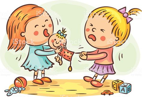 Illustration of Two little girls are fighting in the playroom because of a doll vector art, clipart and stock vectors.