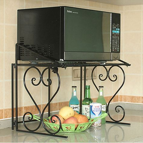 2 Tier Metal Multifunctional Microwave Oven Rack Household Kitchen Shelf Cabinet Microwave Shelf Kitchen Cabinet Shelves Microwave In Kitchen