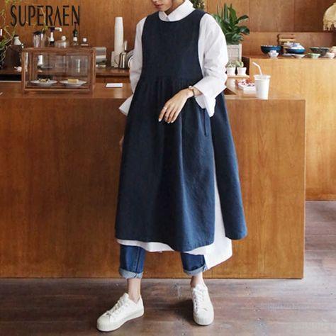 SuperAen Fashion Shirt Dress Female Spring and Autumn New Korean Style 2021 Women Dress Loose Casual Pluz Size Women Clothing|Dresses|   - AliExpress