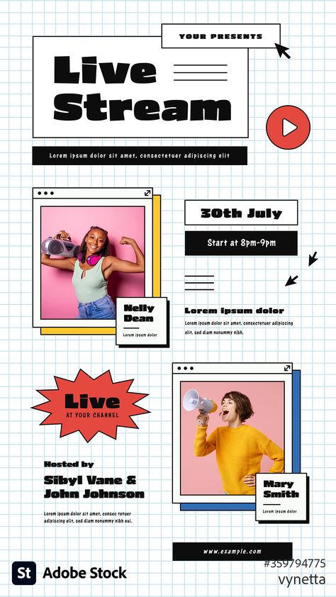 Live-stream event flyer layout