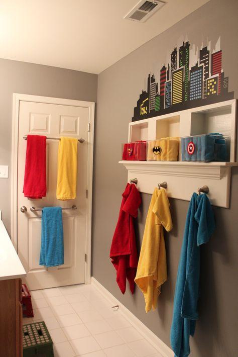 Super-hero Themed Boys Bathroom - love the mix of organization and fun!