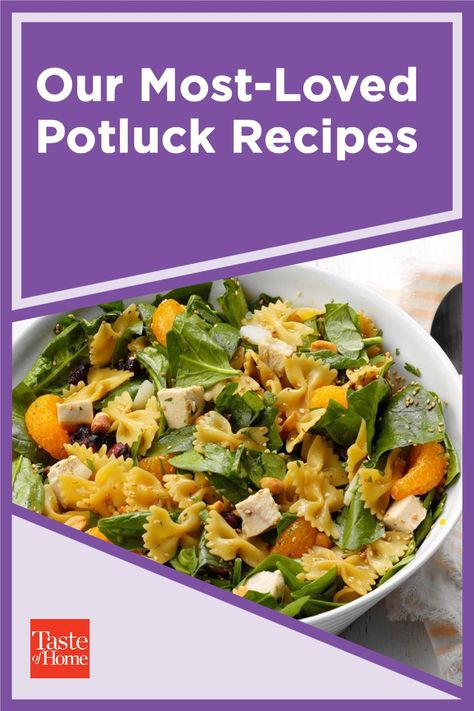 From appetizers to desserts, make sure there's plenty to go around of these most-loved potluck recipes that serve 12 or more.