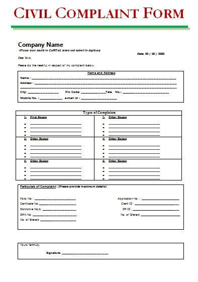 Civil Complaint Form wordstemplates Pinterest Template, Pdf