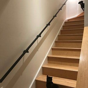 Modern 2x1 Custom Wrought Iron Hand Rail Ada Compliant Return End Wall Mount Handrail Stair Step Railing Made To Order Made In The Usa In 2020 Wall Mounted Handrail Handrail Wrought Iron