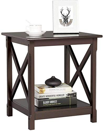 New Topeakmart X Design Wood Sofa Side End Table Storage Shelf