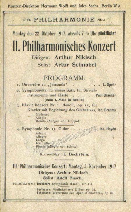 Schnabel, Arthur - Concert Program 1917 Products - concert program