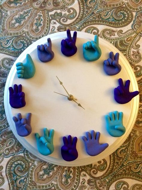 Custom American Sign Language Clock – ASL Art – Unique Wall Clock – Wood and Clay – Child's Playroom or Nursery Clock – You Choose Colors / Photo Klick Hand Sculpted American Sign Language Clock is a unique piece of wall art that looks wonderful Clay Crafts, Diy And Crafts, Clay Projects, Classroom Clock, Classroom Walls, Math Clock, Art Room Doors, Wall Clock Design, Clock Wall