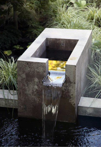 Small Koi Pond Ideas Fountain Cast Concrete Waterfall Design Water Features In The Garden Backyard Water Fountains Water Fountain Design