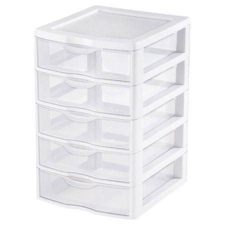 Sterilite Clearview 5 Drawer Storage Chest Set Of 4 Walmart Com Drawer Unit Small Drawer Unit 5 Drawer Storage
