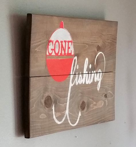Gone fishing reclaimed cedar wood sign.. great gift by emc2squared