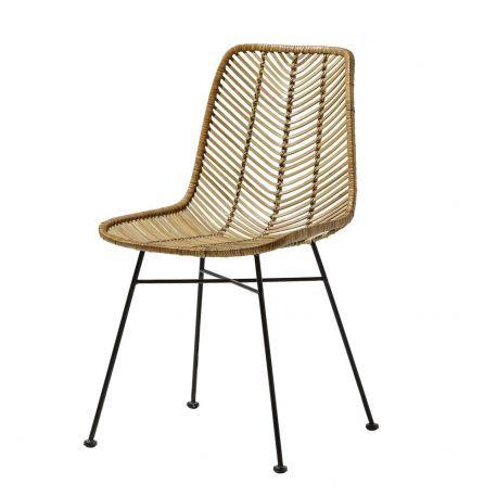 Chaise en rotin design avec pied en métal noir Bloomingville