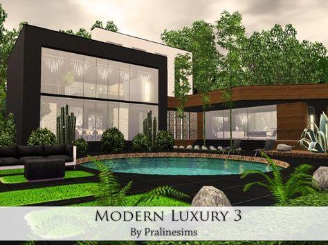 Modern Luxury 3 House By Pralinesims Sims 3 Downloads Cc Caboodle Sims 3 House Sims House Sims House Design