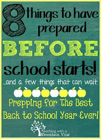 Teaching With a Mountain View: Back to school tips to help you prepare for the upcoming school year!