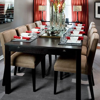 Red Curtains Light Up The Head Of A Gray Casual Dining Room Jane