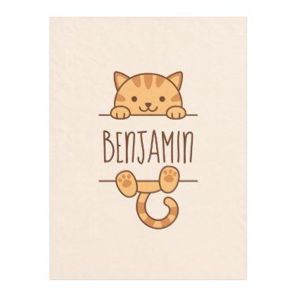 Orange Tabby Cat Peeking Behind Custom Name Fleece Blanket Zazzle Com Orange Tabby Cats Cat Nursery Tabby Cat