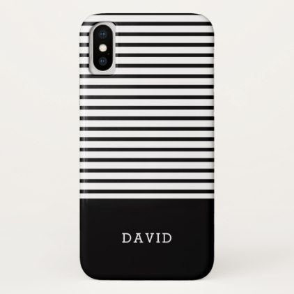 Black And White Stripes With Custom Name Iphone X Case Chic Design Idea Diy Elegant Beautiful Stylish Modern E Black Iphone Cases Iphone Leather Case Stripes,Design Your Own Food Packaging