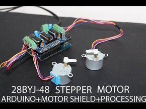 28BYJ-48 Stepper Motor + Arduino + L293D Motor Shield + processing setup test run - YouTube