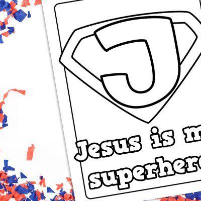 Jesus Is My Superhero Coloring Sheet Printable Free Vacation Bible School Superhero Lessons Bible Heroes