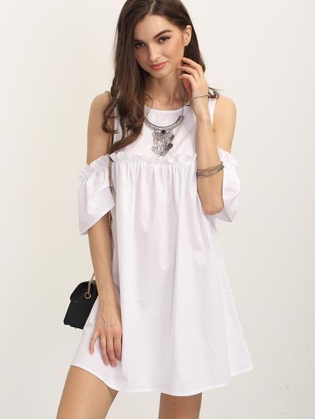 White Cold Shoulder Ruffle Shift Dress