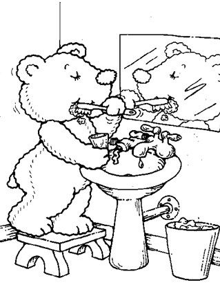 Teddy Bear Brush Teeth Coloring Page Cool Coloring Pages Bear Coloring Pages Coloring Pages