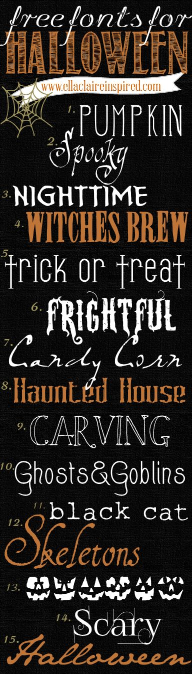 15 fabulous FREE Halloween Fonts with links to download!