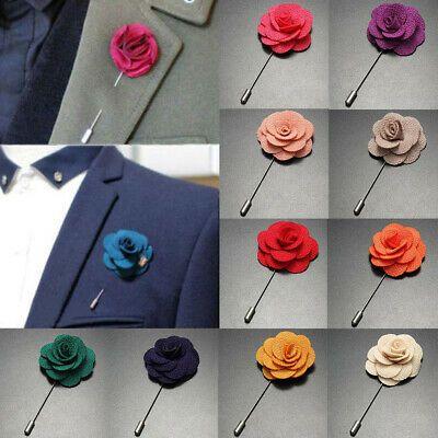 Flower Floral Lapel Pin Stick Tie Brooch Boutonniere Handmade Men Accessory