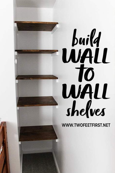 Home Decor organization Build a simple wall to wall shelves Do you want a simple way to add shelves between walls? Here is a step-by-step tutorial on how to build a simple wall to wall shelves. This could be a solution to your organization problem. Diy Closet Shelves, Build Your Own Shelves, Diy Shelving, Diy Wall Shelves, Book Shelves, Bathroom Shelves, Decorating Wall Shelves, Building Shelves In Closet, Bedroom Wall Shelves