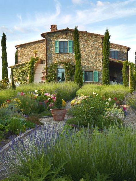 Magnificent Tuscan Villa, amazing interiors & view - Villas for Rent in San Casciano dei Bagni, Tuscany, Italy - view of the house from the formal garden -