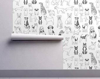 Dogs Wallpaper Black And White Illustration Pet By Andrea Lauren Spoonflower Custom Printed Removable Self Adhesive Wallpaper Roll Floral Wallpaper Spoonflower Wallpaper Self Adhesive Wallpaper