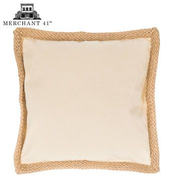 Cream Canvas With Jute Trim Pillow Cover | easy gift ideas