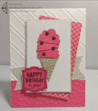 Memories of summertime and simple birthday parties! Stampin' Up!, Cupcake Builder punch, Petite Pennant Builder punch, emboss folder, Big Shot, Label Love