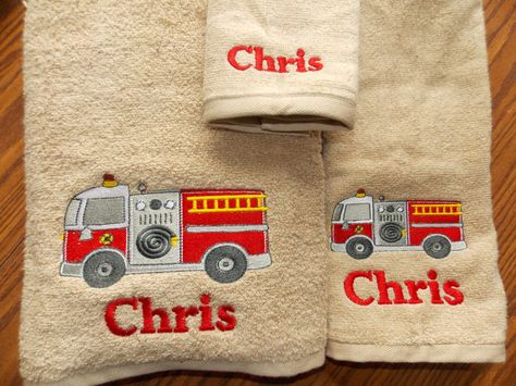 Firetruck Personalized Towel Sets