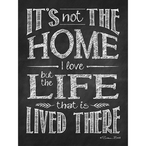 """""""It's not the Home I Love but the Life that is Lived There"""" This chalkboard print is printed on high quality 100 lb. professional card stock and is ready for framing, mailing, or just hanging as it is. The print comes to you shipped in a flat cardboard mailer."""