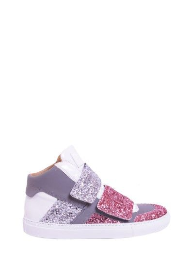 Best Price On The Market At Italist Mm6 Maison Margiela Glitter Leather Sneakers Leather Sneakers Margiela Sneakers Leather