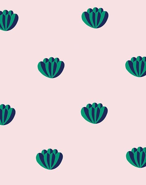 'Lotus' Wallpaper by Clare V. - Navy / Shell - Removable Panel - Sample