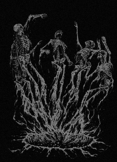 Dark forest, glow of the lake, an eternal dance of death Dark Art Illustrations, Dark Art Drawings, Creepy Images, Creepy Art, Theistic Satanism, Apocalypse Art, Dance Of Death, Satanic Art, Religious Paintings