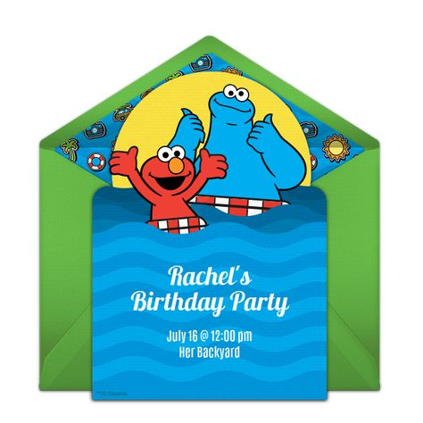 Free Elmo Cookie Monster Pool Party Invitations Pool