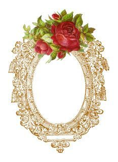 Antique Images: Free Digital Frame Graphic: Vintage Printable Frame with Red Rose Clip Art