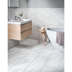 177941 Wickes Calacatta Matt White Glazed Porcelain Calacattabathroomdesign Marble Tile Bathroom Bathroom Wall Tile Ceramic Tile Bathrooms