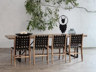 Maland Woven Leather Dining Chair Black Leather Hide Woven Dining Chairs Dining Chairs Leather Dining Chairs