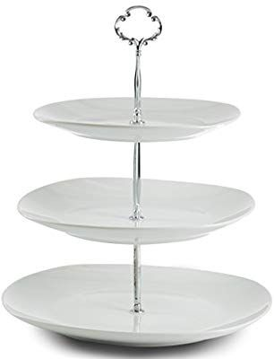 Amazon Com Klikel 3 Tiered Serving Stand Serving Tray For Parties Square Platter For Cupcakes Fruits D Tiered Serving Stand Cake Pop Stands Buffet Server