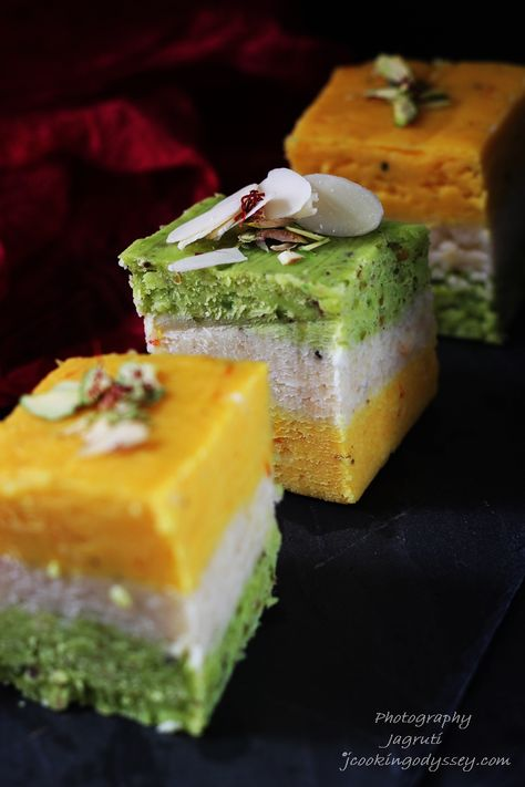 Kesar, Badam and pista , soooooooo sinful, this Barfi will just melt in your mouth and you'll hear lots of ohhhhs and ahhhhs and many sat...