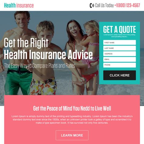 best health insurance quote advice responsive landing page
