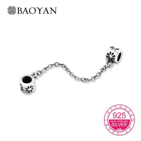 Baoyan 100% Geniune 925 Sterling Silver Daisy Safety Chain