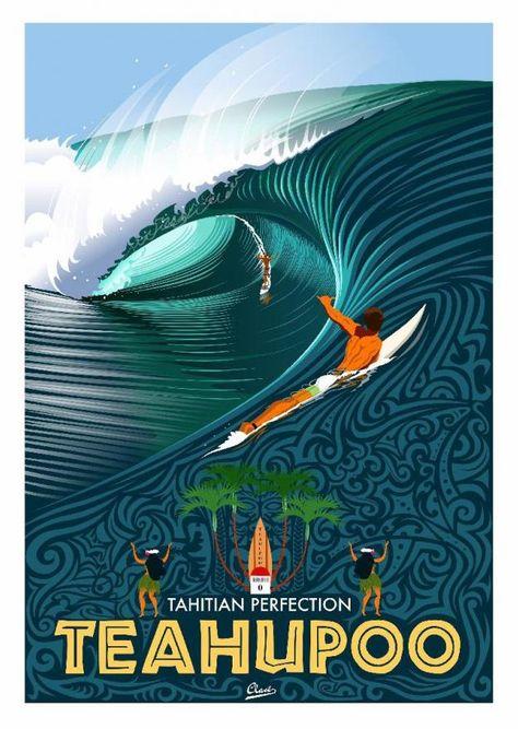 L'illustrateur français Damien Clavé est un passionné de surf. Voici 20 affiches des plus célèbres spots.