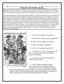 Vietnam War Lbj Political Cartoon Worksheet And Answer Key With