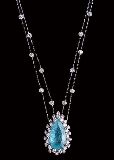 Pear-Cut Paraiba Tourmaline & Diamond Pendant | Saved for Future Outfits in Gabrielle's Amazing Fantasy Closet