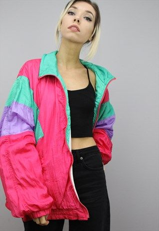 Vintage 80s 90s Oversized Colourful Shell Windbreaker Jacket Retro Outfits Aesthetic Clothes Colorful Jacket