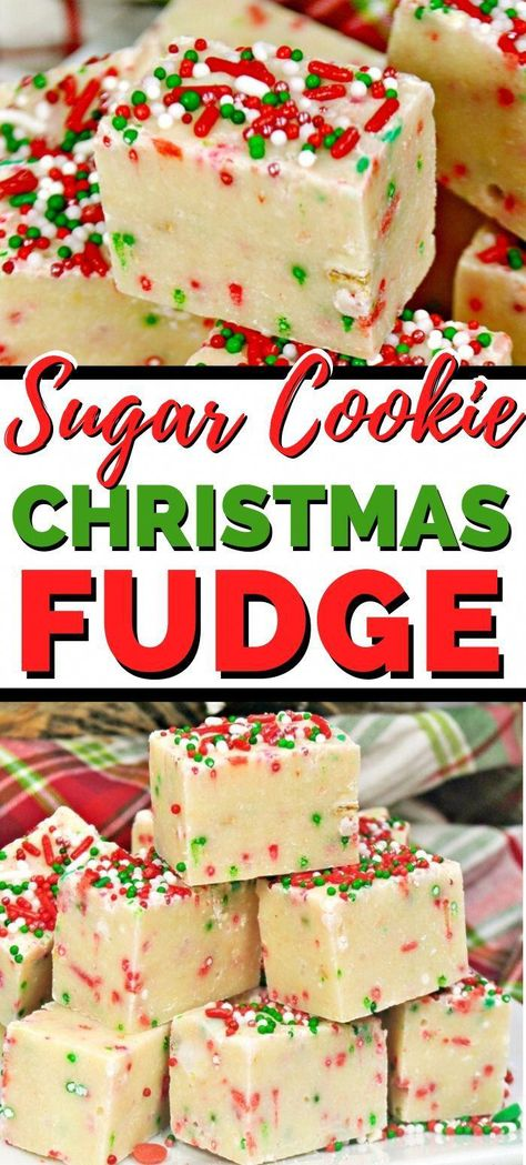 An easy 4-Ingredient sugar cookie Christmas fudge recipe great for Christmas parties or just for a fun and festive Christmas treat for the family. #ChristmasDessert #ChristmasRecipes #FudgeRecipes #EasyDesserts #ChristmasPartyFood #chriatmascookies